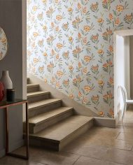 1-wallpaper-floral-grey-red-staircase-cayo-zapara-harlequin-style-library