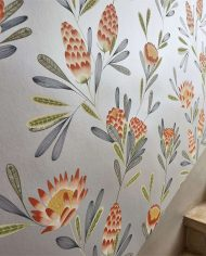 2-wallpaper-floral-grey-red-detail-cayo-zapara-harlequin-style-library