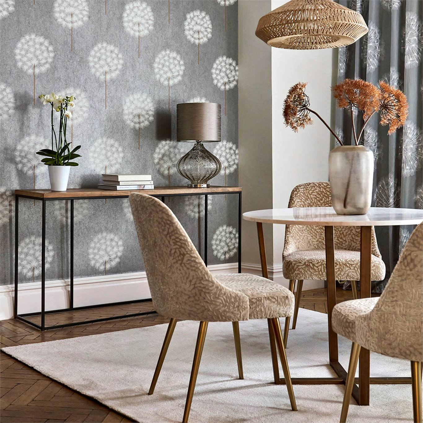 1 Wallpaper Grey White Floral Living Space Amity