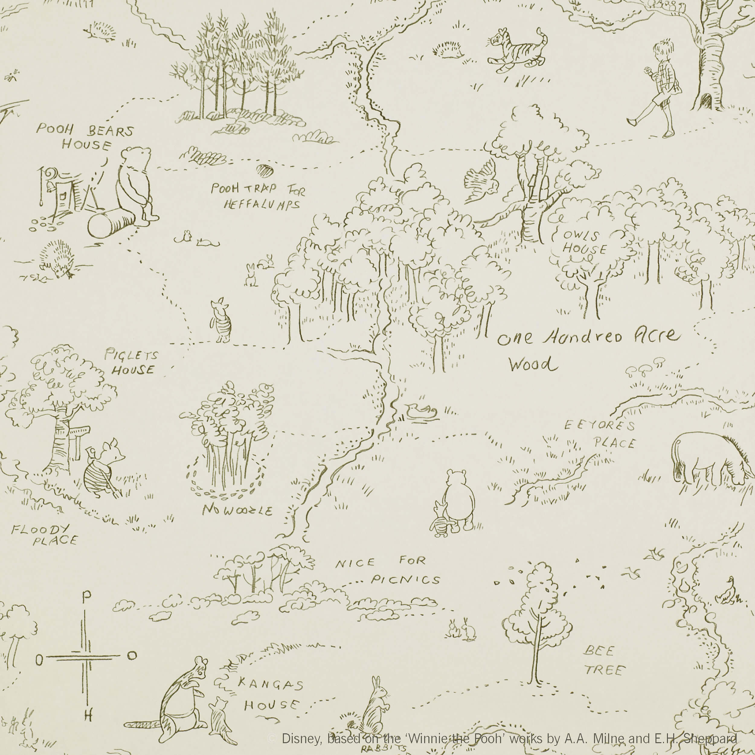 Jane Churchill One Hundred Acre Wood Map J129w 04 Paint